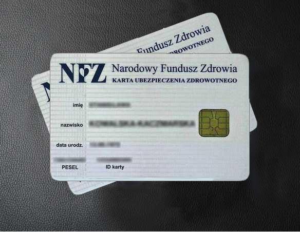 karta NFZ - ubezpieczenia zdrowotnego